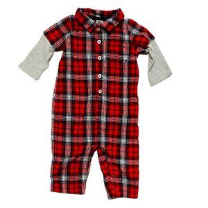 Carter's Red Flannel Jumpsuit with Waffle Knit Sleeves